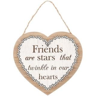 Chantilly Lace Heart Plaque Friends Are Stars That Twinkle In Our Hearts Thumbnail 1