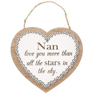 Chantilly Lace Heart Plaque Nan, Love you more than all the stars in the sky Thumbnail 1