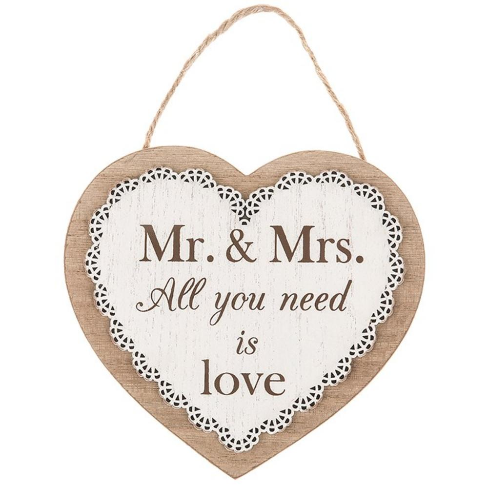 Chantilly Lace Heart Plaque Mr And Mrs All You Need Is Love