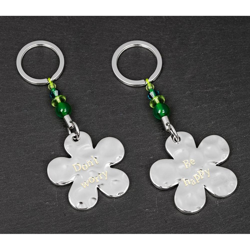 """Message """"Don't Worry Be Happy"""" Flower Keyring"""