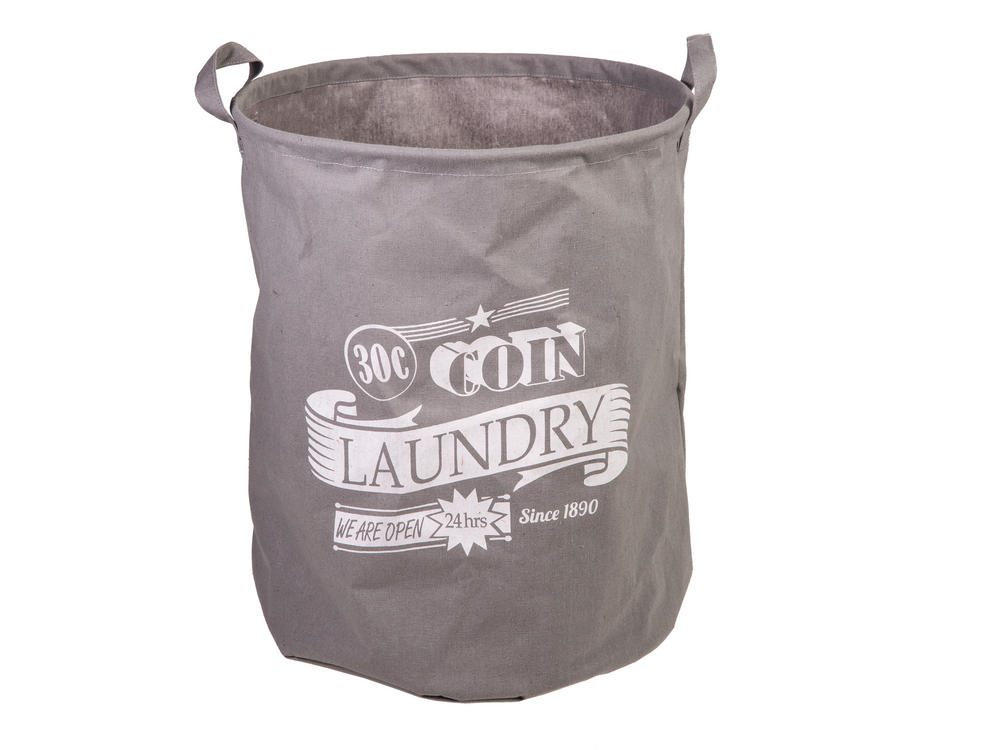 "Grey Laundry Basket 45 x 36 Cm ""30 C Coin"""