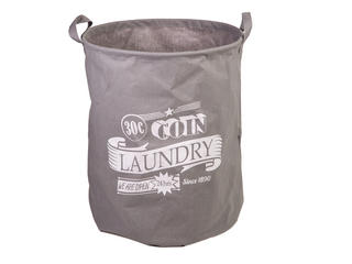 "Grey Laundry Basket 45 x 36 Cm ""30 C Coin"" Thumbnail 1"