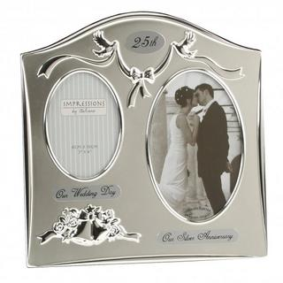 Juliana Two Tone Silver Plated 25Th Wedding Anniversary Picture Photo Frame Thumbnail 1
