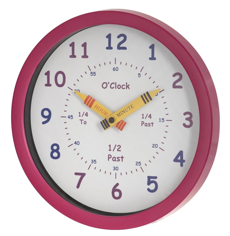 Unity Children 39 S Bedroom Nursery Tell Learn The Time Wall Clock In Pink Girls Ebay