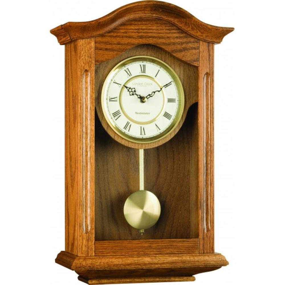 London Clock Company Three Quarter Oak Finish Westminster Pendulum Wall Clock