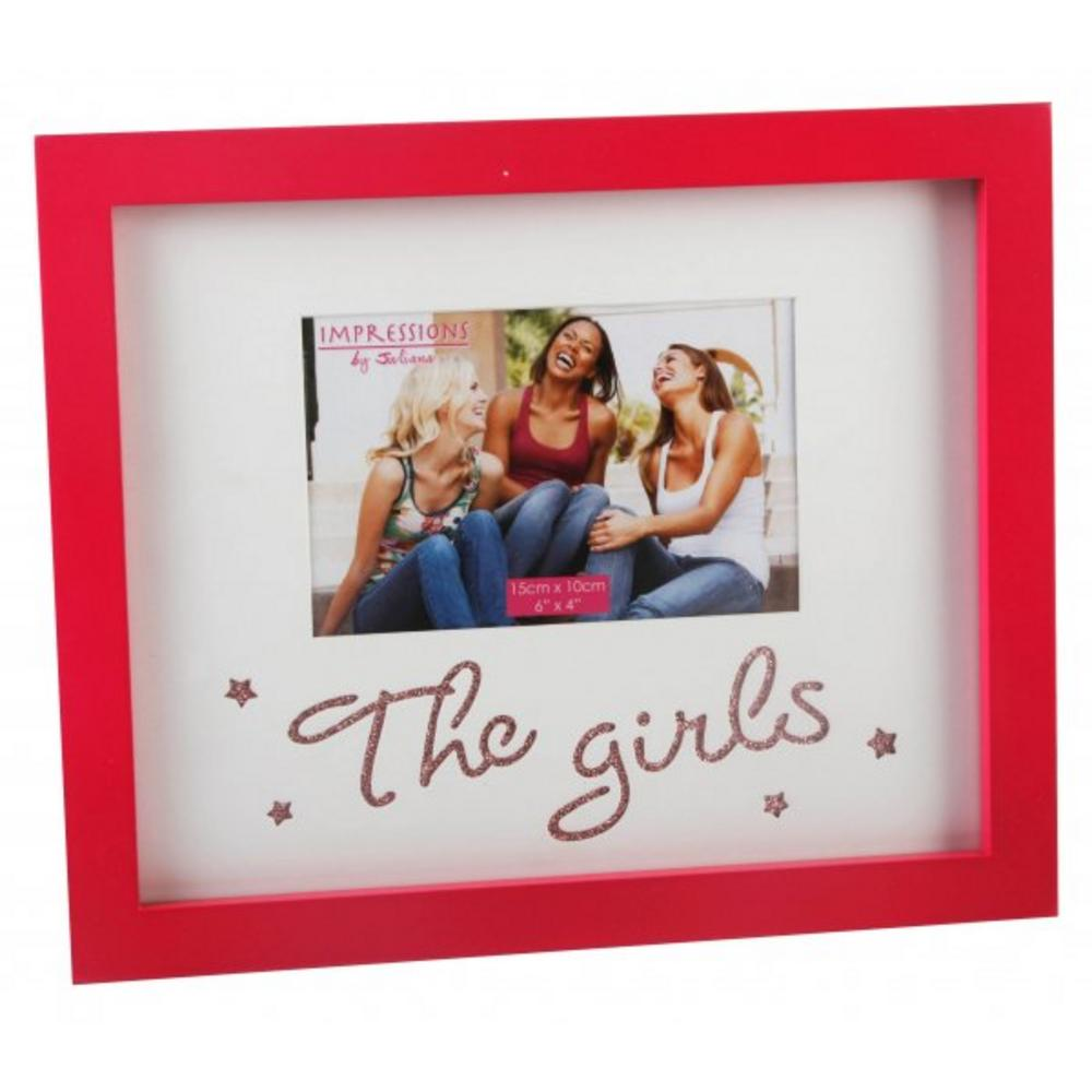 """Juliana Hot Pink Wood The Girls Photo Picture Frame 6"""" X 4"""""""