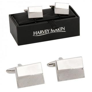 Harvey Makin Rhodium Plated Two Tone Silver Cufflinks Thumbnail 1
