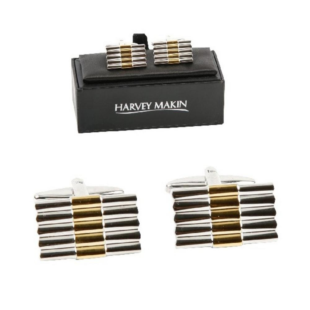 Harvey Makin Gold And Silver Bars Modern Mens Gents Cufflinks With Gift Box