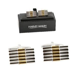 Harvey Makin Gold And Silver Bars Modern Mens Gents Cufflinks With Gift Box Thumbnail 1