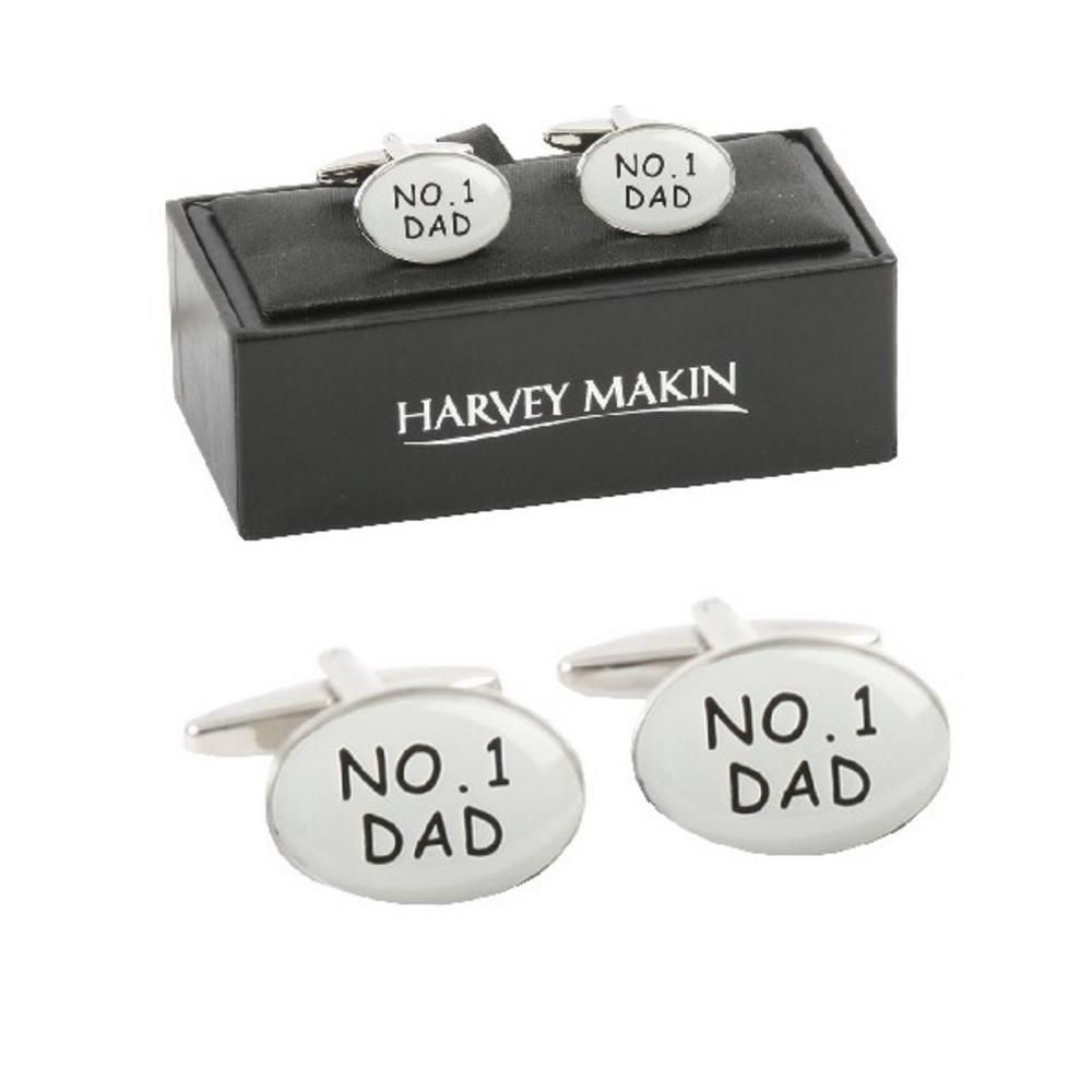 Harvey Makin Silver Number One 1 Dad Mens Cufflinks