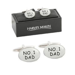 Harvey Makin Silver Number One 1 Dad Mens Cufflinks Thumbnail 1