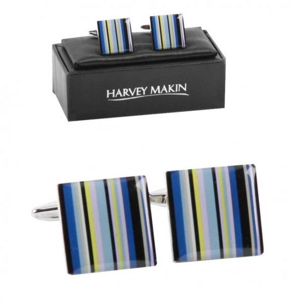 Harvey Makin Rhodium Plated Blue Multi Colour Lines Mens Cufflinks