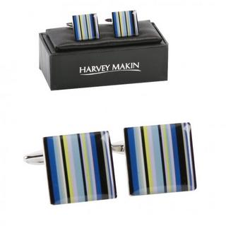 Harvey Makin Rhodium Plated Blue Multi Colour Lines Mens Cufflinks Thumbnail 1