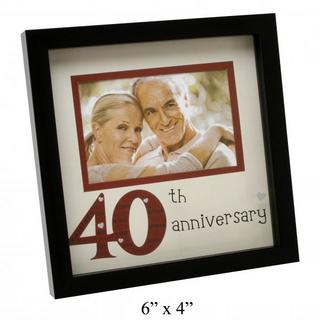 """New View Contemporary 40Th Wedding Anniversary Picture Photo Frame 6"""" X 4"""" Thumbnail 1"""