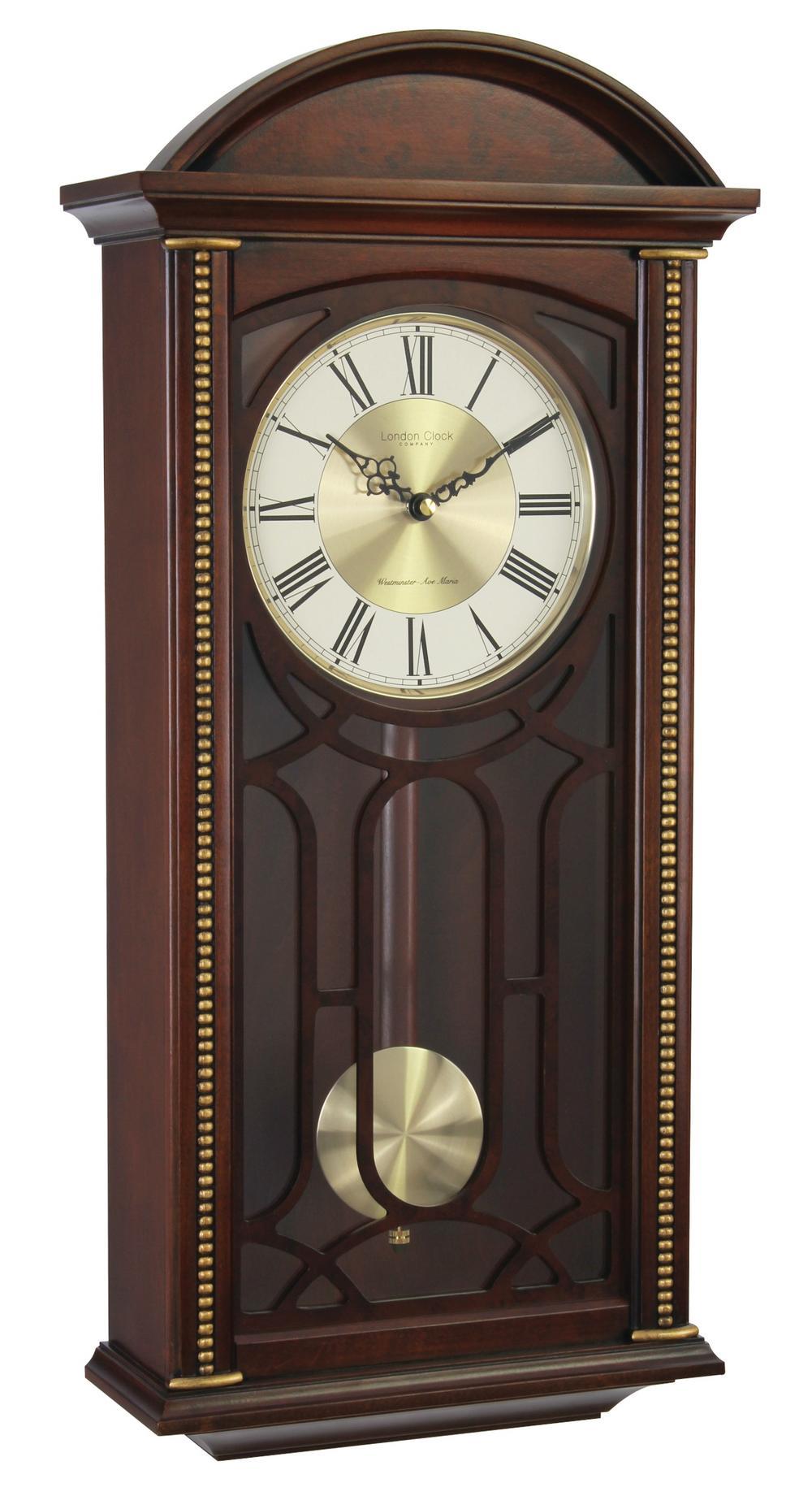 London Clock Company Westminster Walnut Finish Traditional Pendulum Wall Clock