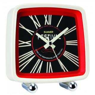 London Clock Company Festival Retro Cream Red & Black Alarm Clock Thumbnail 1