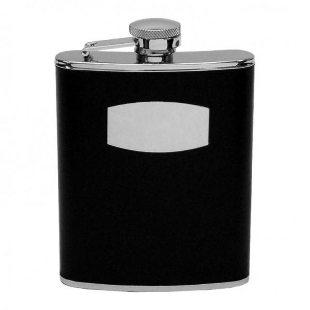 Juliana Black Leather Finish Hinged Top Hip Flask - Gift Boxed