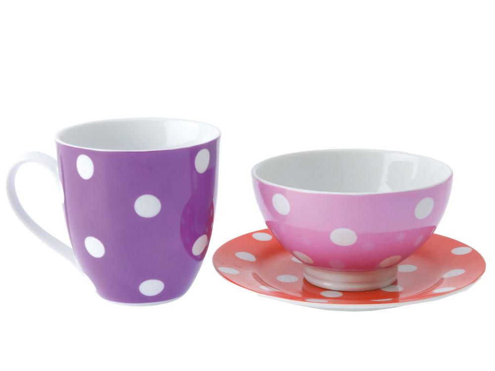 Present Time Polka Dot Warm Colour Breakfast Set - Bowl, Plate And Mug