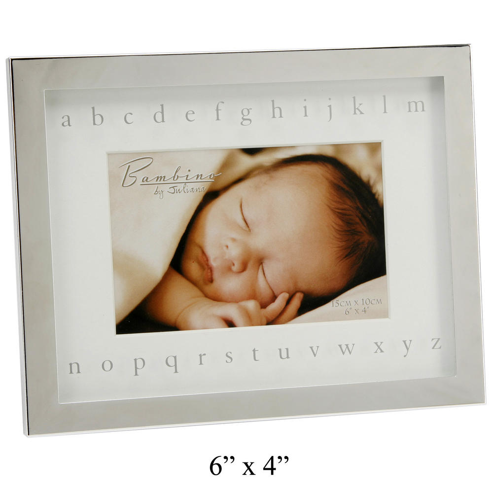 """Bambino Juliana Silver Plated Picture Photo Frame Mirror Alphabet 6"""" X 4"""" Gift"""