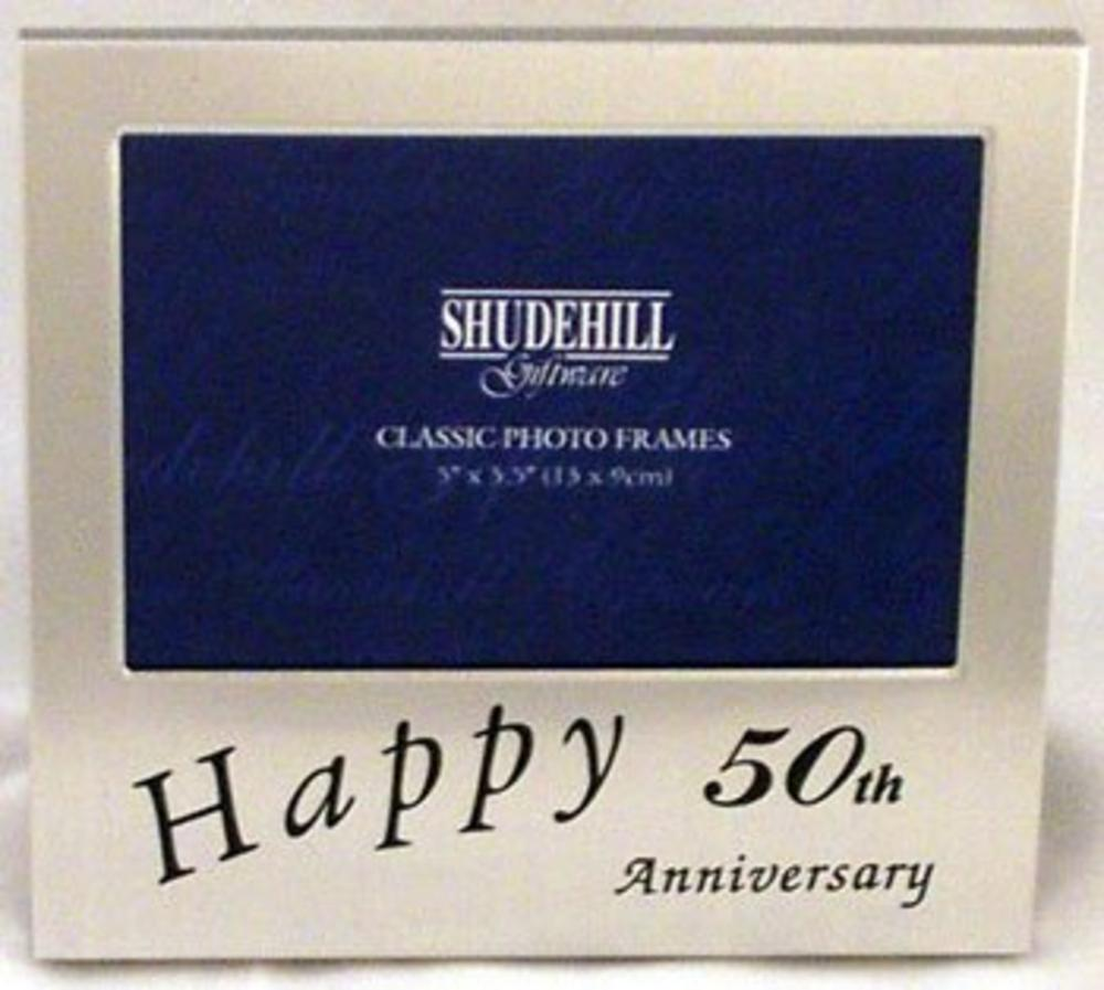 "Satin Silver Happy 50Th Anniversary Picture Photo Frame  5"" X 3.5"""