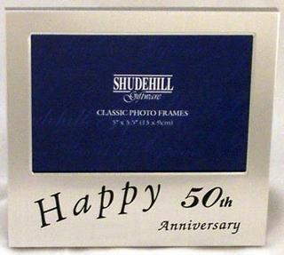 "Satin Silver Happy 50Th Anniversary Picture Photo Frame  5"" X 3.5"" Thumbnail 1"