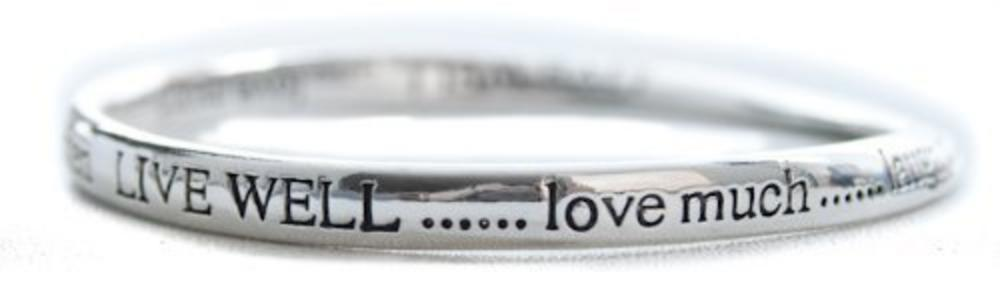 Equililbrium Silver Plated Bangle Live Well Love Much Laugh Often Gift Box