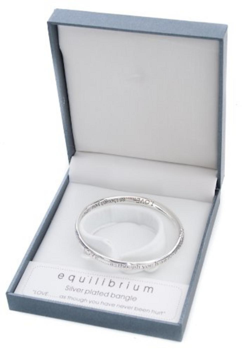 Equilibilirum Silver Plated Bangle Gift Box Love As Though You'Ve Never Hurt