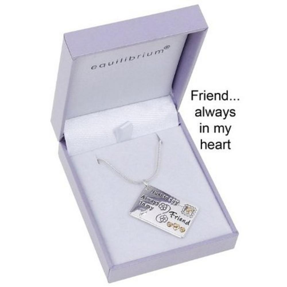 "Equilibrium Silver Plated Necklace - ""Friends.... Always In My Heart"" Gift Box"
