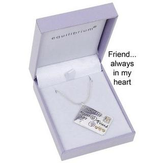 "Equilibrium Silver Plated Necklace - ""Friends.... Always In My Heart"" Gift Box Thumbnail 1"