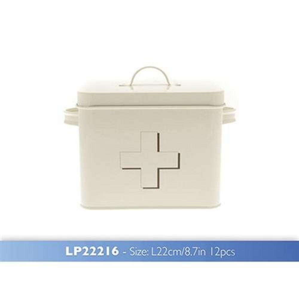 Vintage Retro Shabby Chic Cream Enamel First Aid Tin Storage Box & White Cross