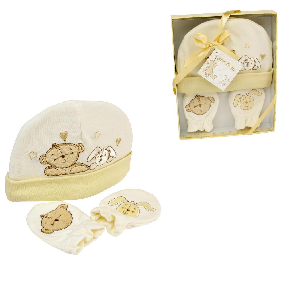 Button Corner Embroidered Hat & Mitt Set