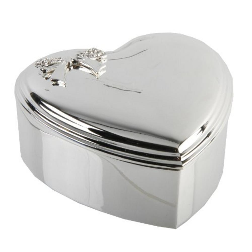 "Heart Silverplated Jewellery/Trinket Box - Crystal Box 3.5"" By Juliana"
