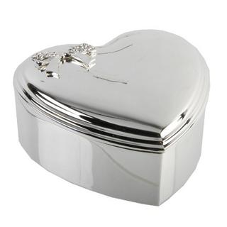 "Heart Silverplated Jewellery/Trinket Box - Crystal Box 3.5"" By Juliana Thumbnail 1"