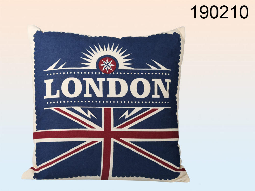 UNION JACK CUSHION LONDON 100 % COTTON, FILLED, U.K FLAG
