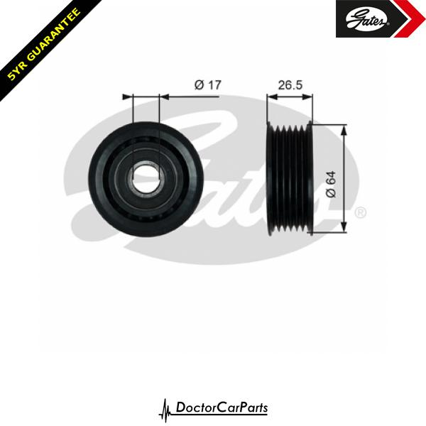 Gates Belt Idler Pulley Alternator for MERCEDES CLK 5.0 CLK500 M113 306bhp