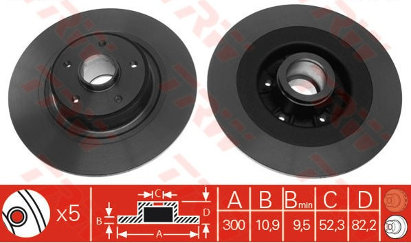 Rear Brake Discs with Hub Vel Satis Espe 300mm BG3732 Clearance Item