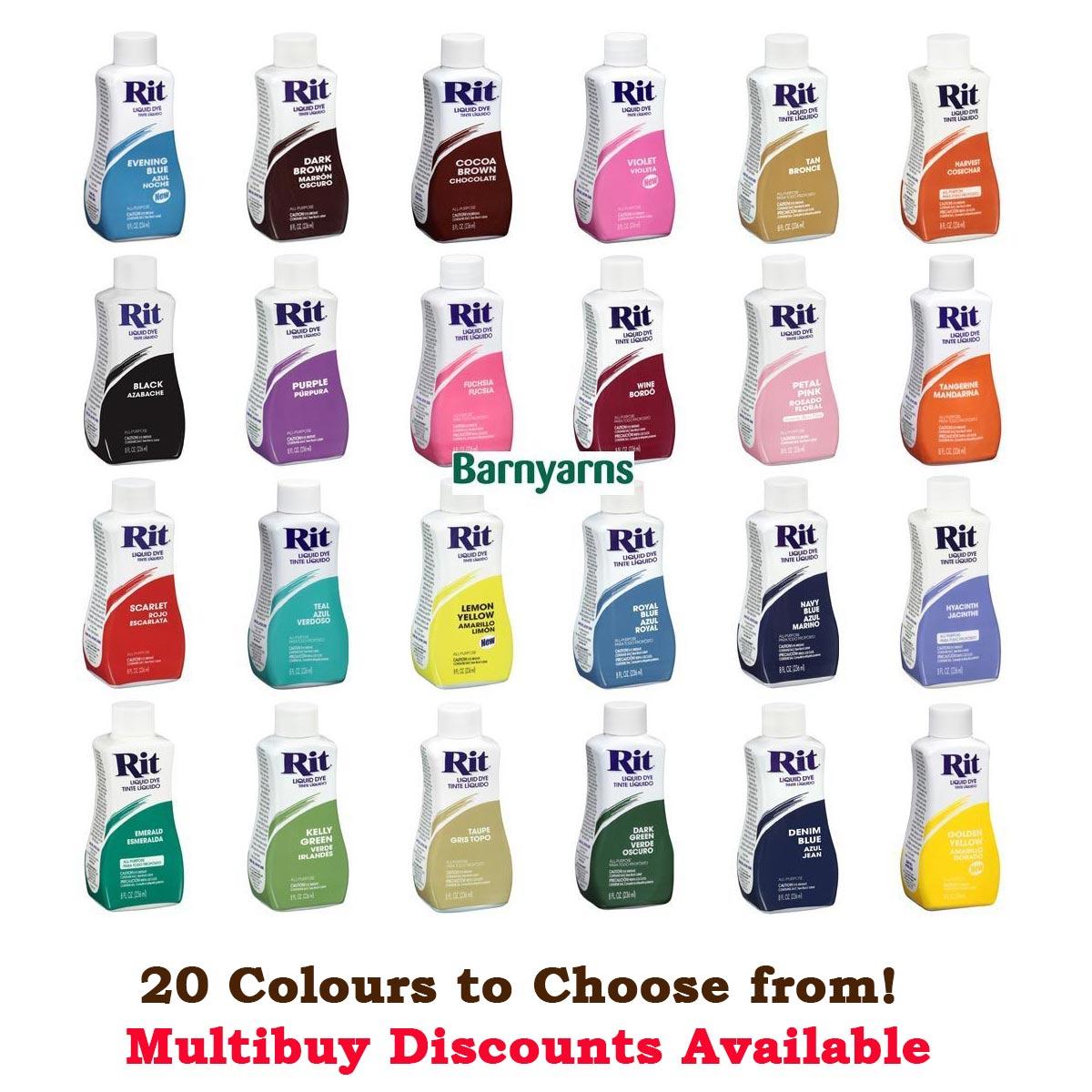 Rit Dye Liquid 236ml Dyes Natural Fabrics Nylon Based Plastic