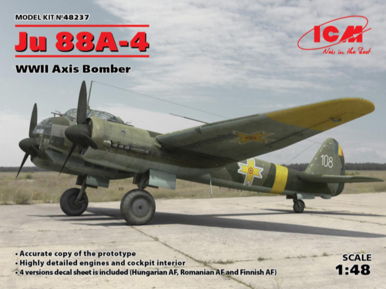 ICM 1/48 Junkers Ju-88A-4 WWII Axis Bomber # 48237