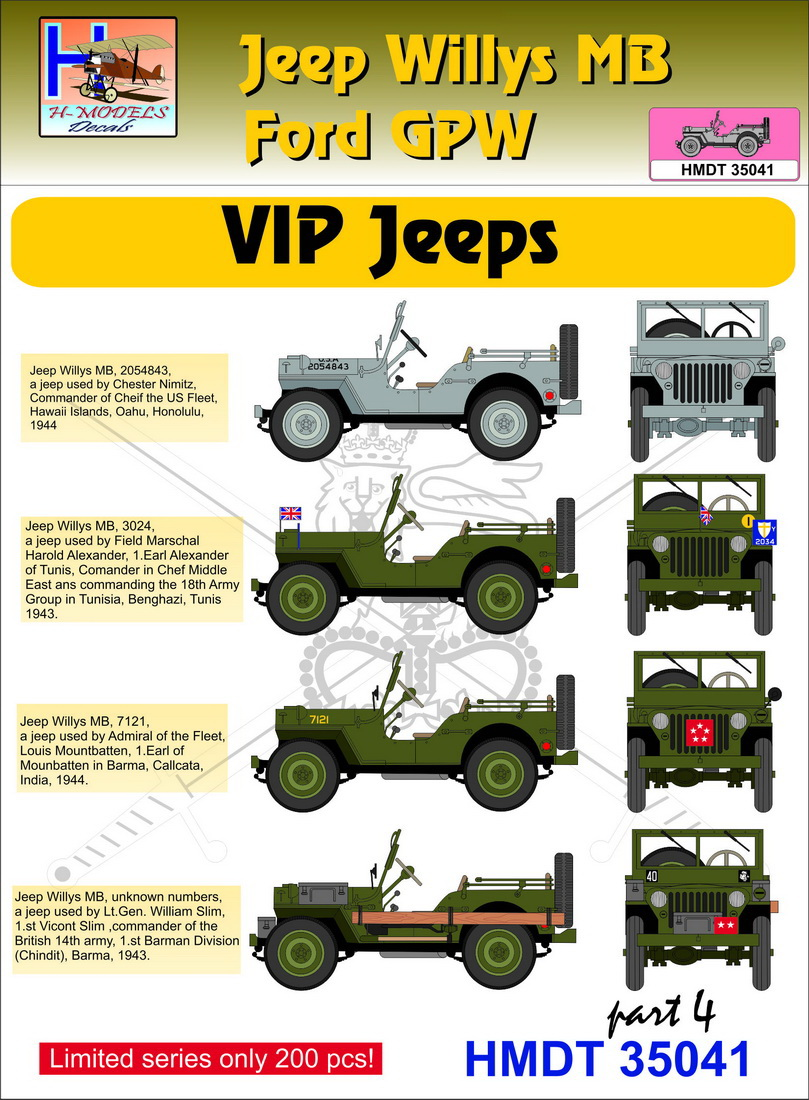 Sentinel h model decals 1 35 willys jeep mb ford gpw vip jeeps