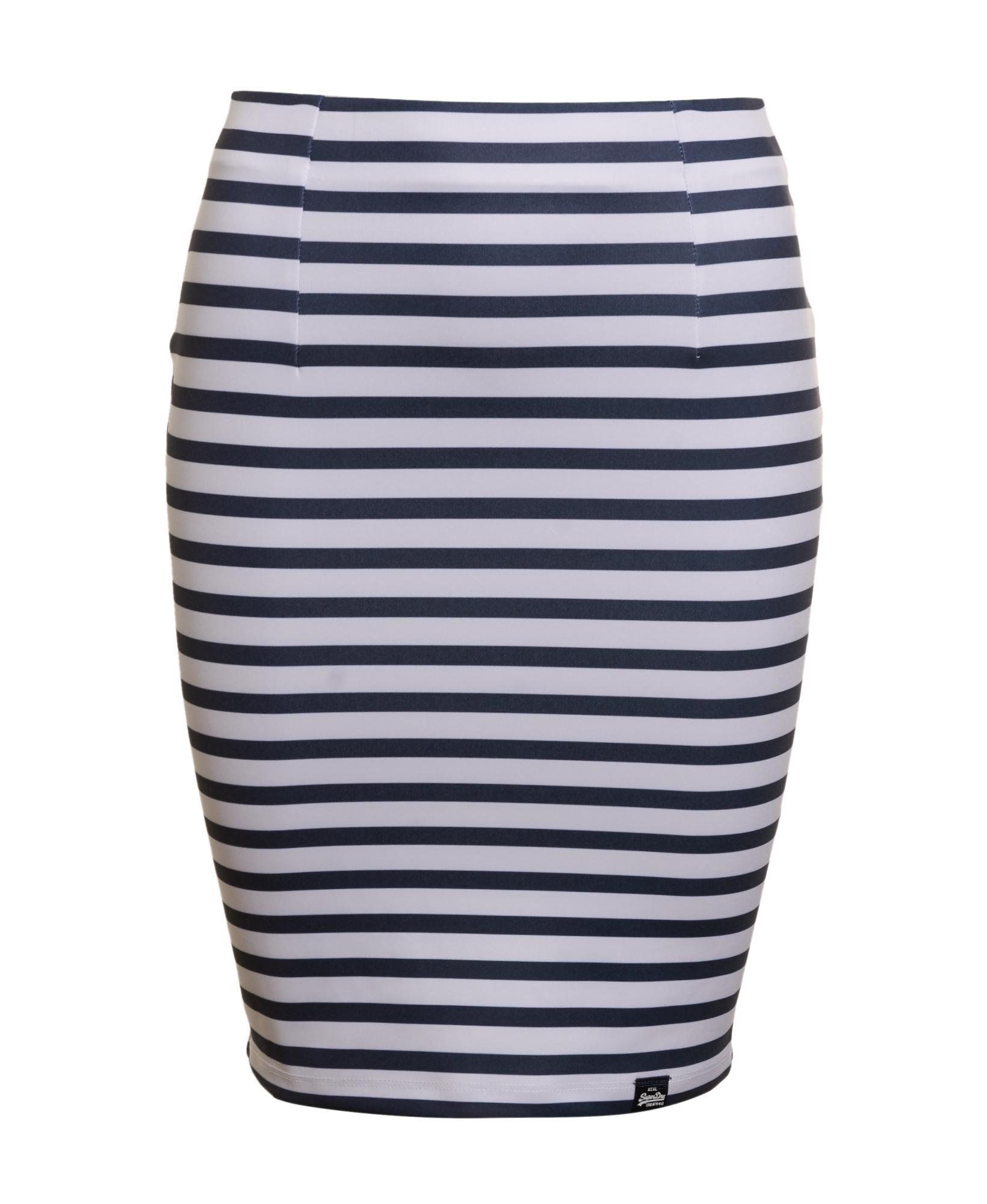 New Womens Superdry Factory Second Premium Scuba Pencil Skirt Navy//White