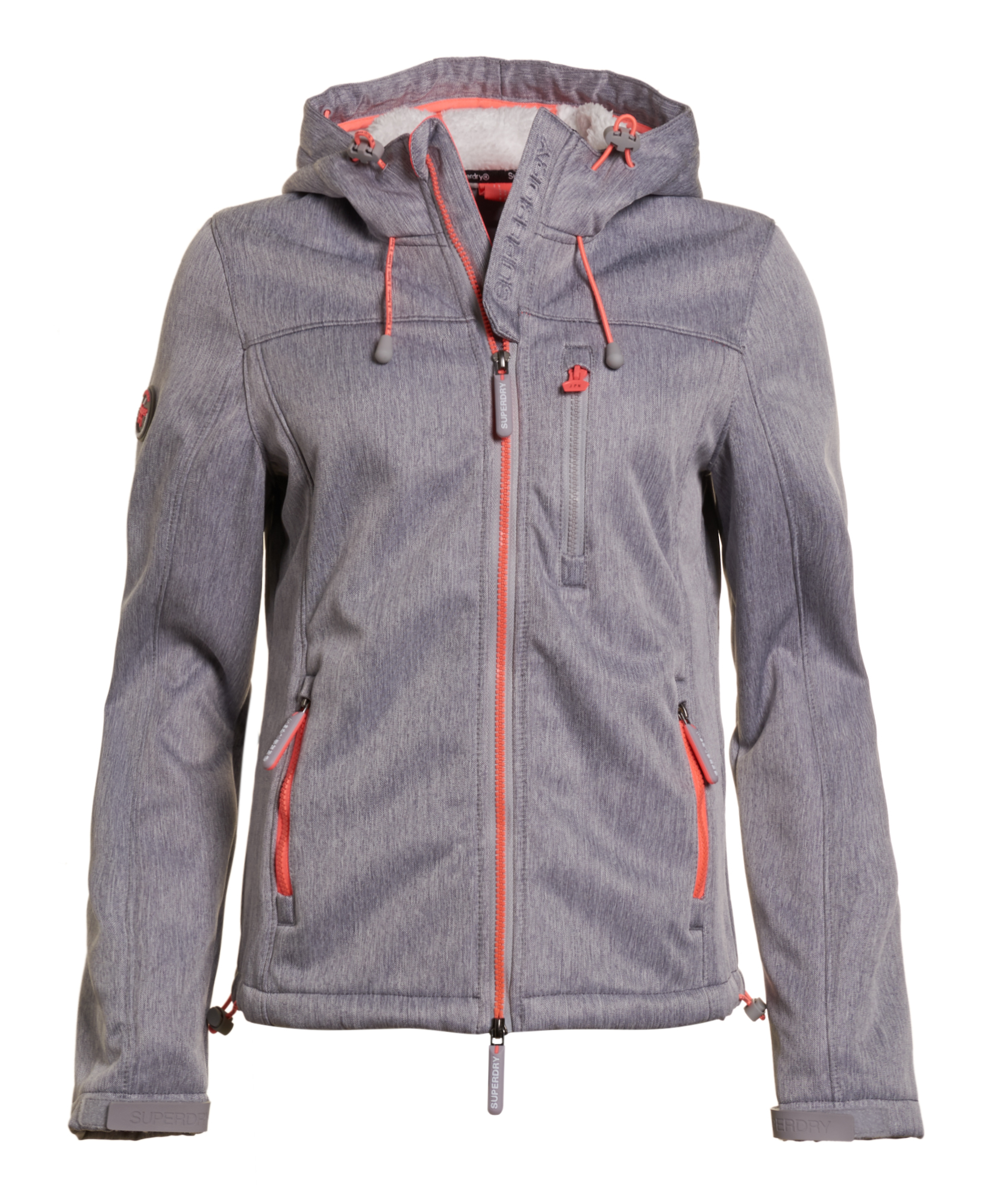 buy online 7ae15 62a81 Details about New Womens Superdry Hooded Sherpa SD-Windtrekker Light Grey  Marl