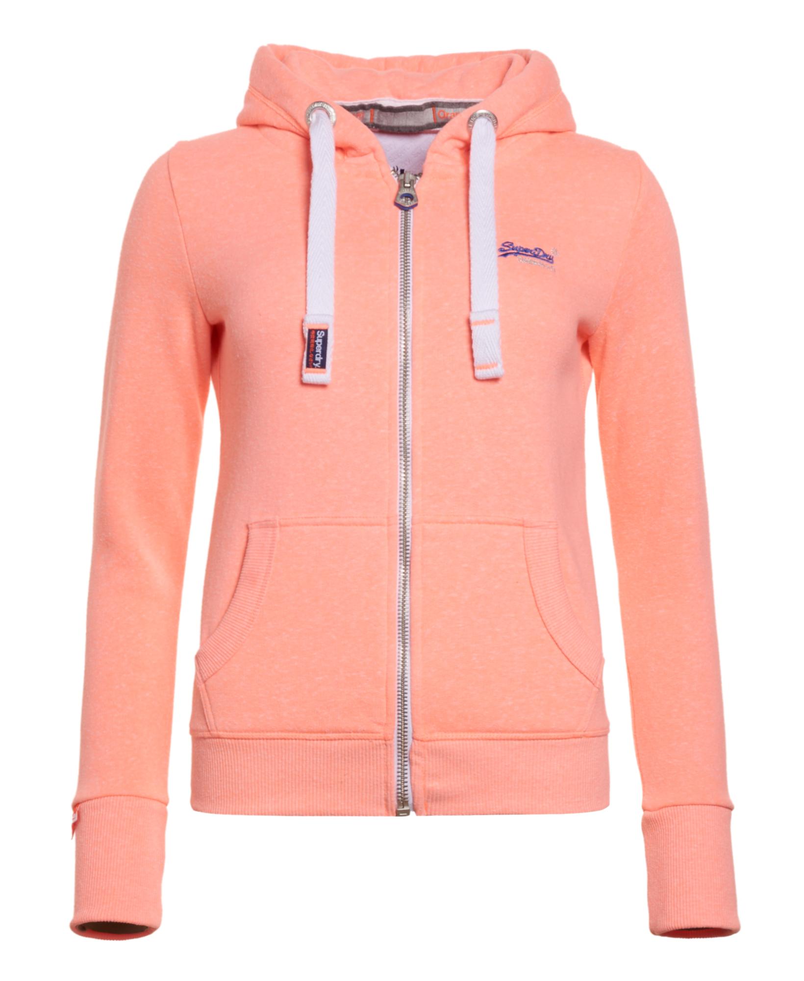 newest 399c3 79a31 Details zu Neuer Damen Superdry Orange Label Zip Hoodie Starburst Coral Snow