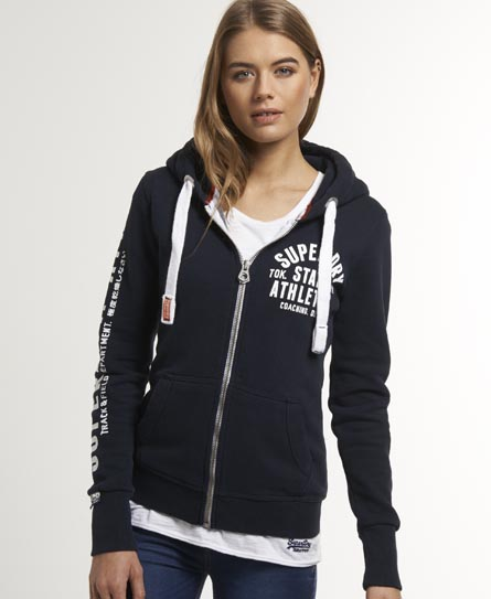 Sentinel New Womens Superdry Track   Field Zip Hoodie Eclipse Navy a3225aa73