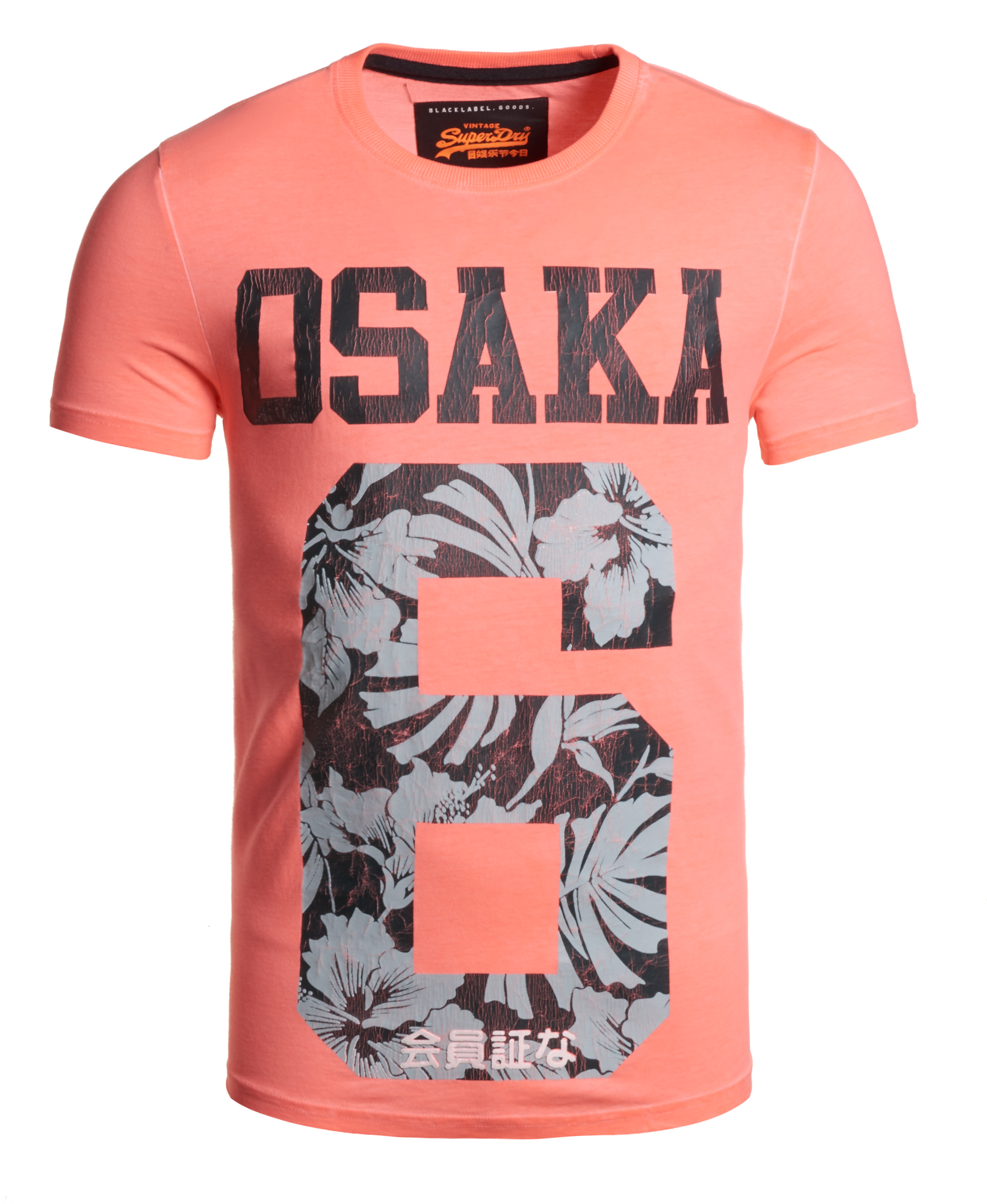 Sentinel New Mens Superdry Factory Second Osaka Hibiscus T-shirt Fluro Pink 57b7e91bb3
