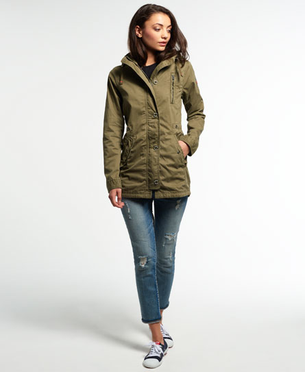 a26d7385942 Sentinel New Womens Superdry Rookie Military Parka Jacket Deepest Army