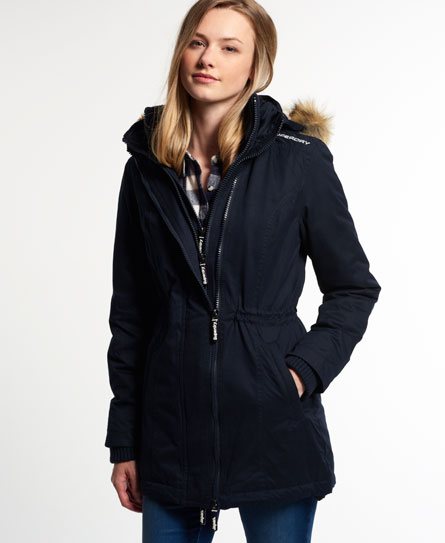 neue damen superdry microfibre tall windparka navy ebay. Black Bedroom Furniture Sets. Home Design Ideas