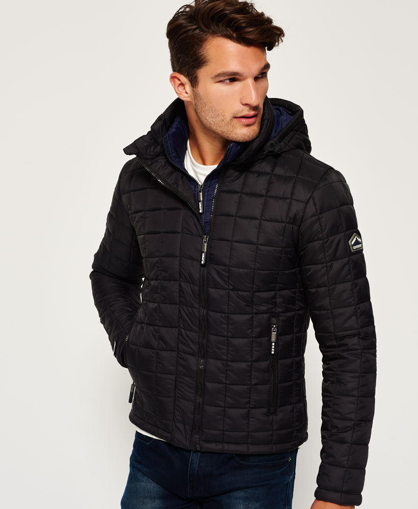 Superdry: New Mens Superdry Hooded Box Quilt Fuji Jacket Black