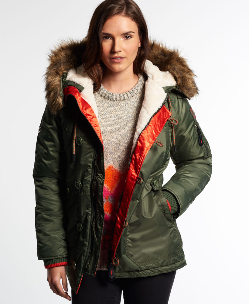 Sentinel New Womens Superdry SD-3 Parka Coat Olive Green 29f8b3a451bb