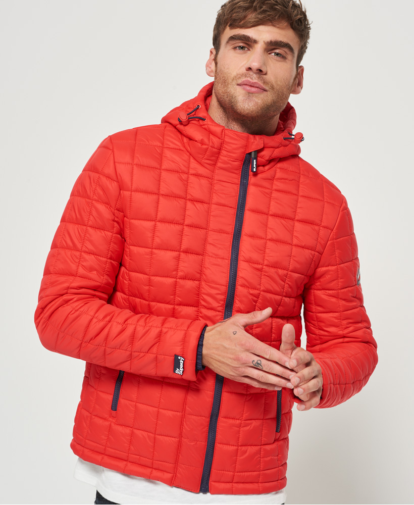 New Mens Superdry Box Quilt Fuji Hooded Jacket Bright Red