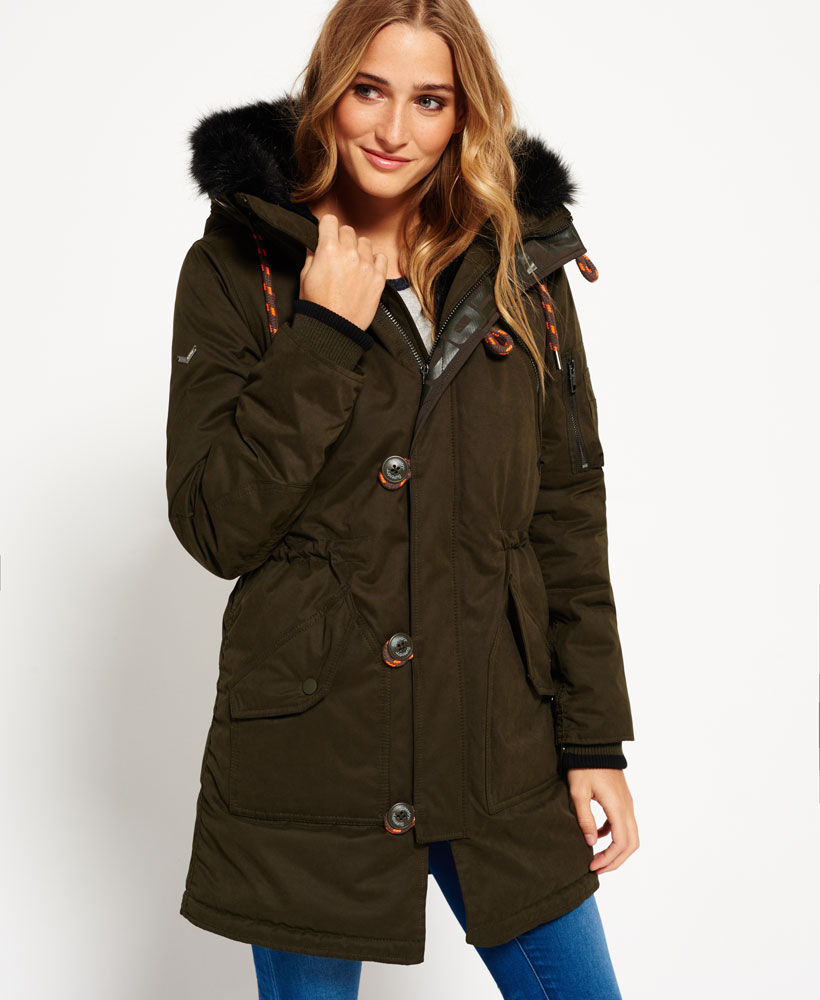 Details about New Womens Superdry Microfibre Sd 4 Parka Coat Olive